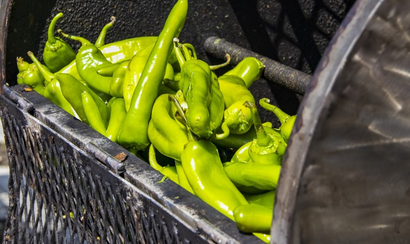 Hatch chiles in a basket