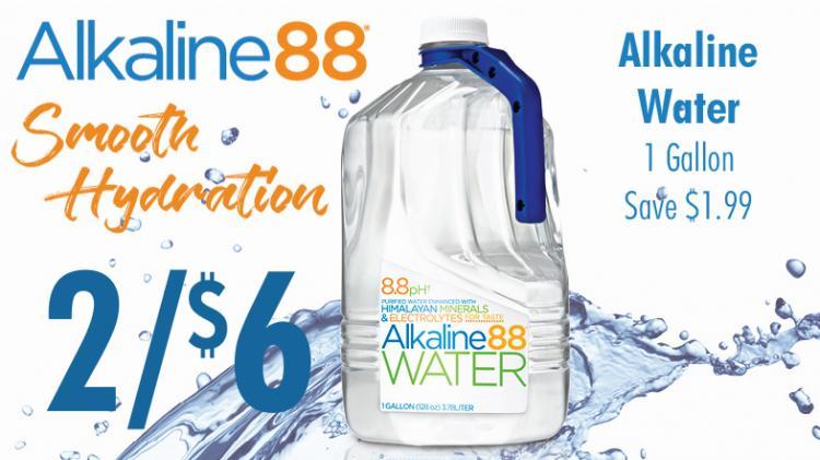 Alkaline88 Alkaline Water 2 for $6, 1 gallon, save $1.99, smooth hydration.
